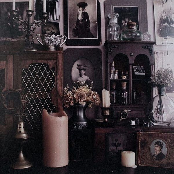 Cool decor inspiration, love the feeling of all the stuff. (candels  aesthetic). Vintage Gothic DecorGothic Home ...