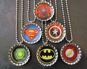 Captain America /   Bottle Cap Party favors (6) / add more for 2 dollars each / Large selection of super heroes and avengers available. $12.00, via Etsy.