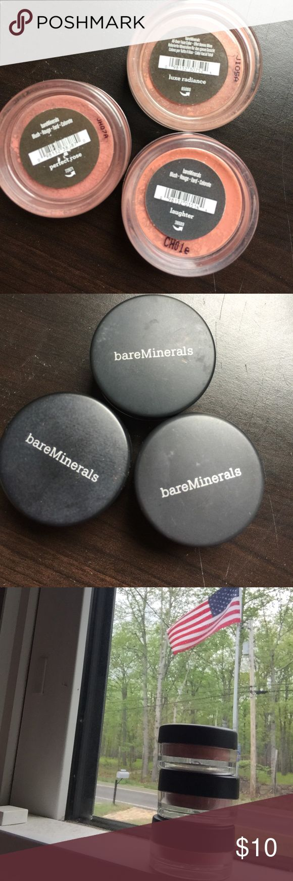 "Bare Minerals~ 2 blushes & lux radiance 4 face Bare Minerals, set of 3 pigments. Blush in ""laughter"" & ""perfect rose"". Luxe Radiance all over face color. These have been opened, a tiny bit has been taken out (I was a make up artist for years so these are sanitized). All 3 are basically new. For questions please comment. These are the little jars. bareMinerals Makeup Blush"
