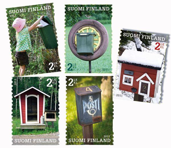 €3.75 Postilaatikoita - viiden (5) erilaisen postimerkin sarja