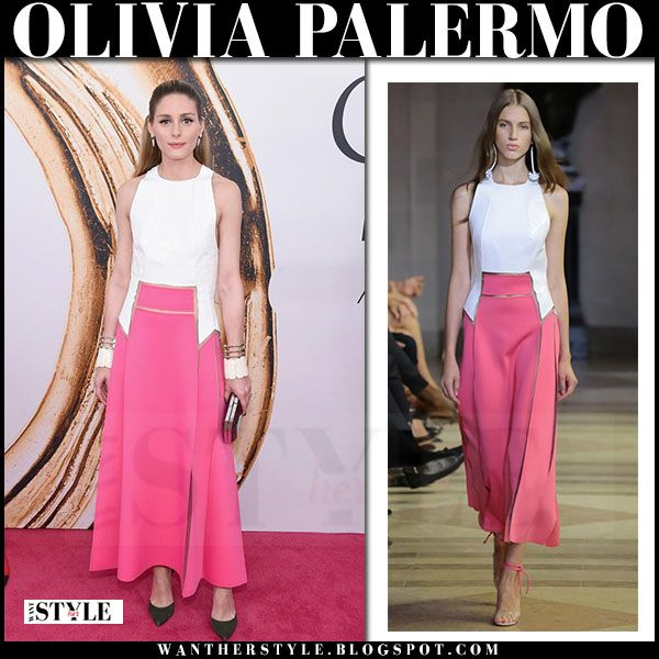 Olivia Palermo in white and pink maxi dress