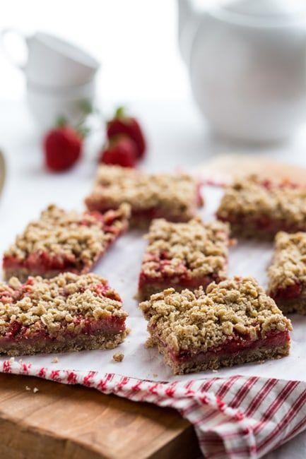 Strawberry Oatmeal Bars sweetened with Truvia Baking Blend.