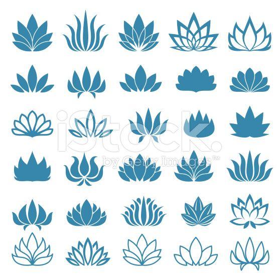 Ensemble d'icônes de fleur de Lotus assortiment cliparts vectoriels libres de…