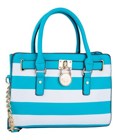 This Turquoise Stripe Padlock Shoulder Bag Satchel Gotta Love A Cabana On Handbag Pinterest Bags And