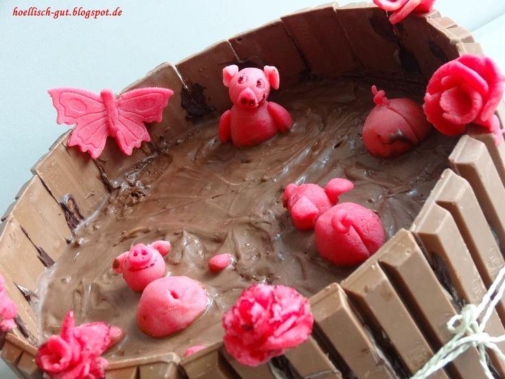 Motiv-Schokotorte: Schweinchen im Matschkübel