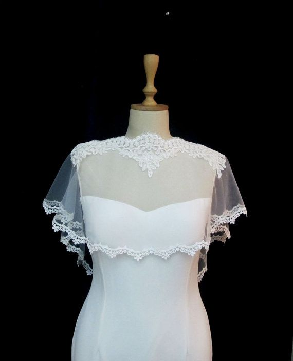 Ivory Lace Bridal Cape Shawl Lace Shrug Wedding Wrap by gebridal
