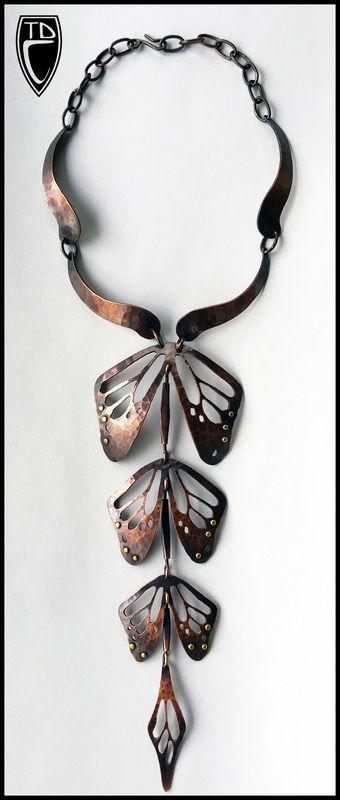 ToddConover.com - Double Strand Necklace, 2014 copper, Japser, gold leaf, ceramic glazed beads, leather