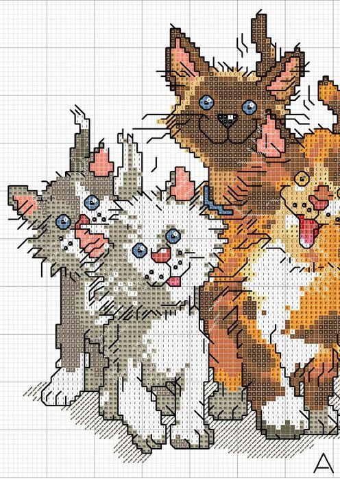 <3 PART 1  Crazy Cats Cross Stitch