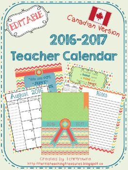 Editable Teacher Calendar - Canadian Version - FREE Update