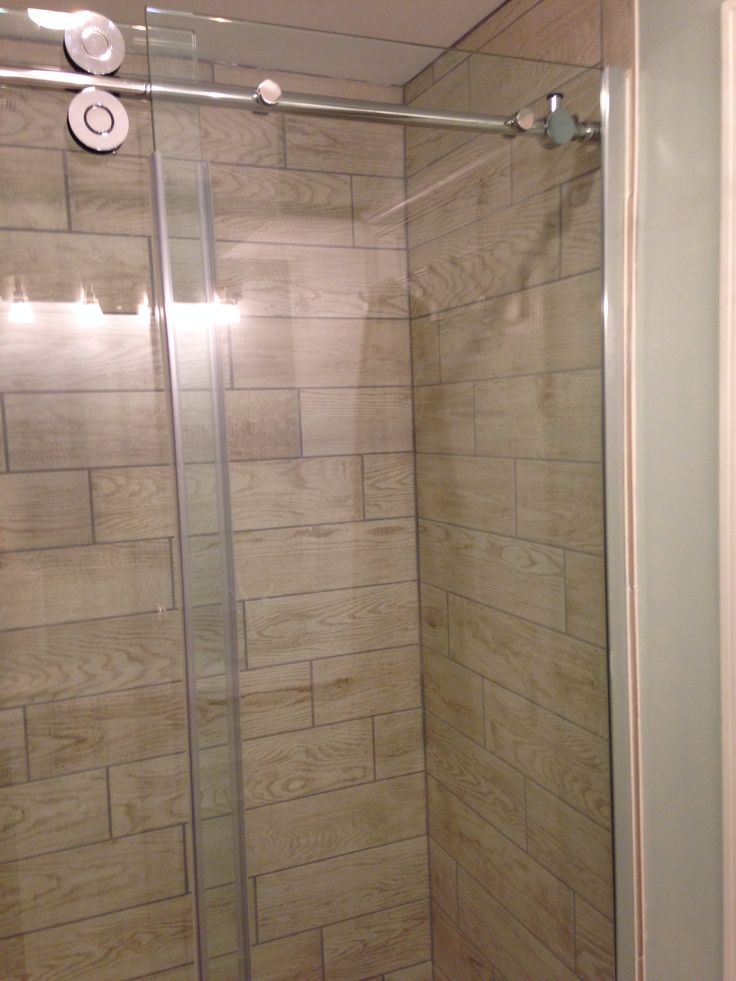 Wood tile in shower stall marazzi home depot glass door is allen roth frameless reno Tile shower stalls