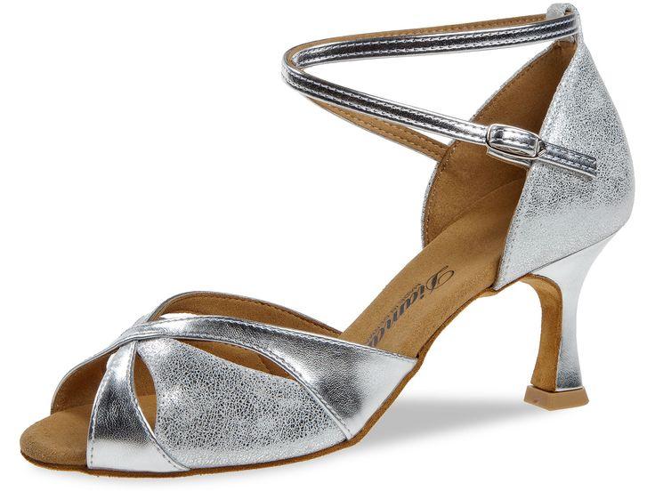 Mod. 141 Damen Tanzschuhe Weite F Normalweite Flare Absatz 6,5 cm silber  Synth