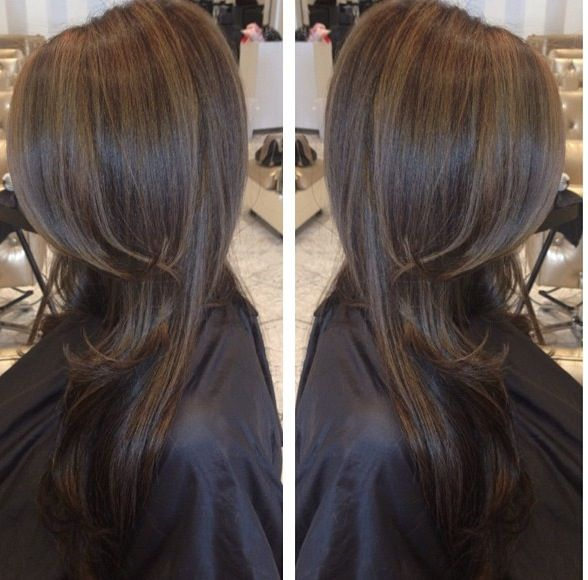 Dark brown hair with highlights... I may try this!! I love the color :)