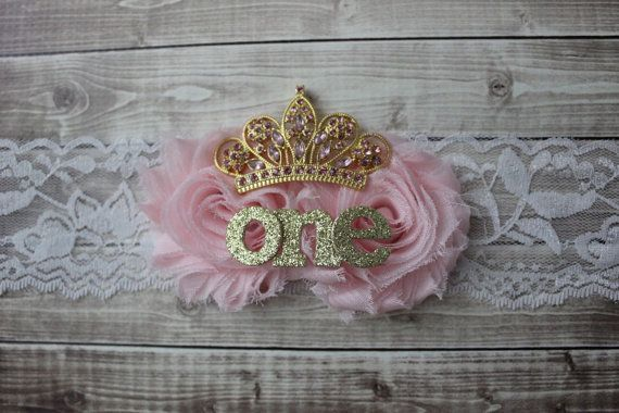 First birthday tiara headband pink and gold by AshlynsAccessoryCo