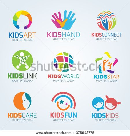 Kids child logo vector set design - stock vector                                                                                                                                                      More
