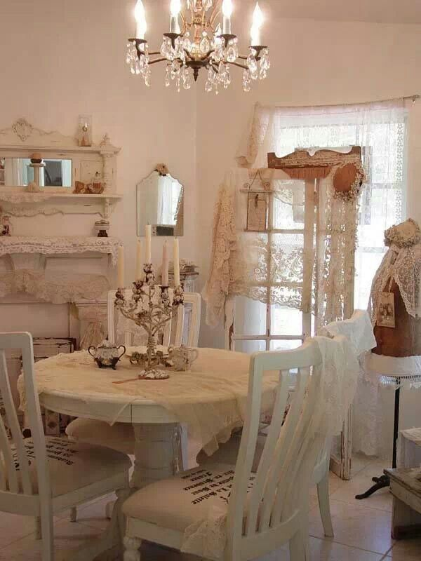 white dining room country shabby chic pinterest shabby. Black Bedroom Furniture Sets. Home Design Ideas