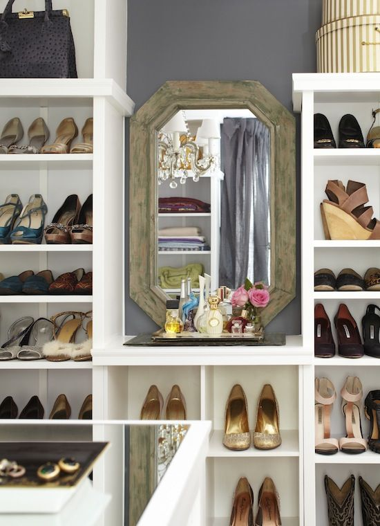 Closet Shoes Shelves And Vintage Mirror A Mere Life Different Height