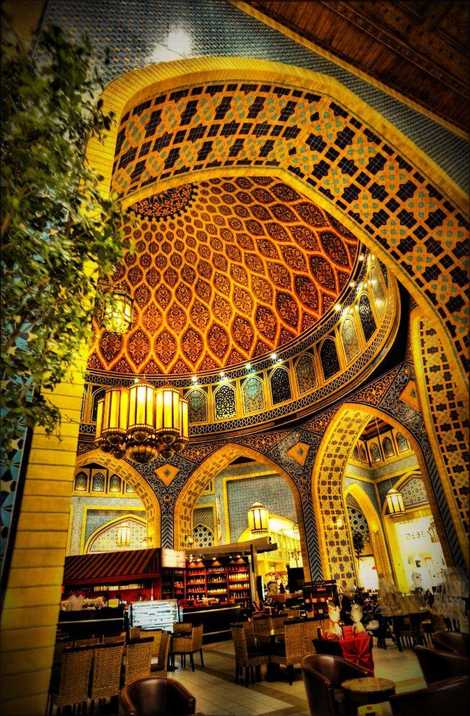 Persian Court at Ibn Battuta Mall, Dubai. Starbucks Coffee under the dome.