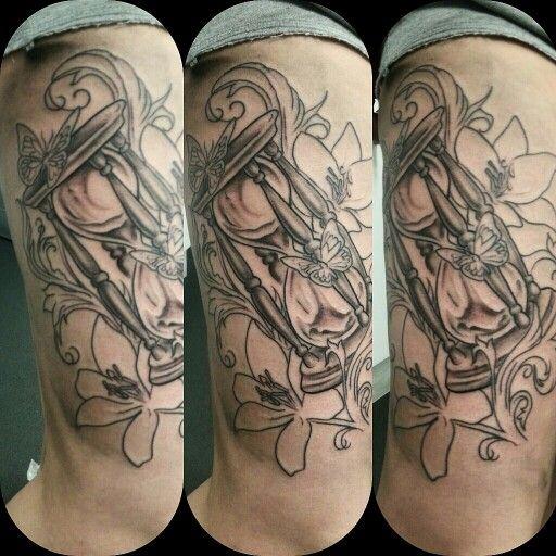 Thigh tattoo   #tattoo #tattooartist #tattooart #blackandgrey #portrait #portraittattoo #commemorative #tattoo #tattooer #tat #skull #butterfly #hourglass #blackandgrey
