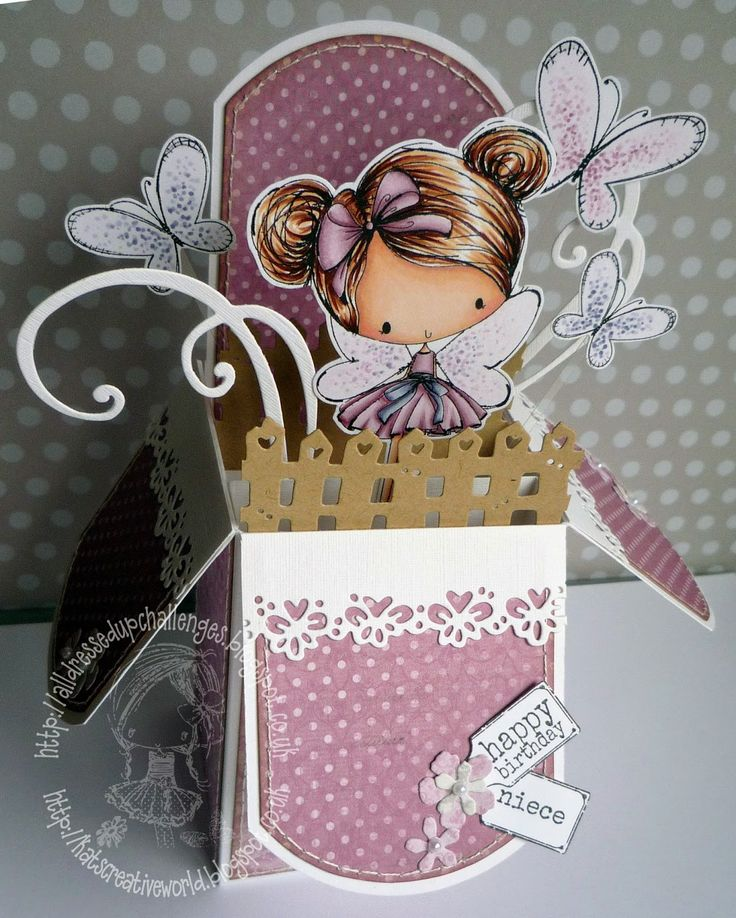 Pop up box card featuring a cute fairy, butterflies and swirls all in pretty pink shades
