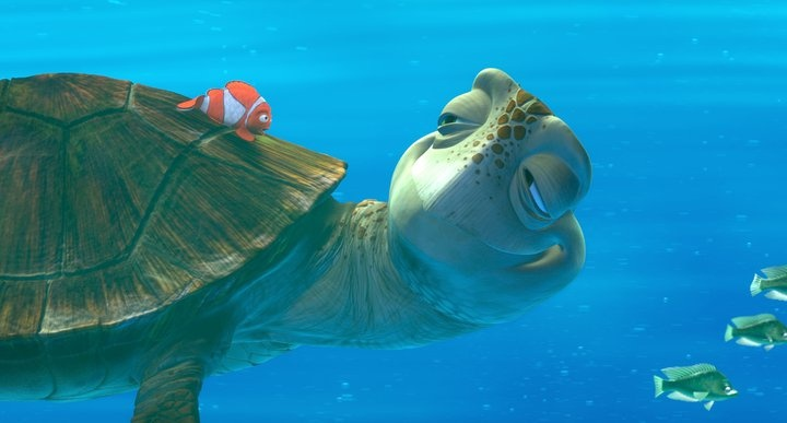 """Whoa, Dude. Mr. Turtle is my father. Name's Crush."" FINDING NEMO, in theatres Fall 2012...in 3D!!!"