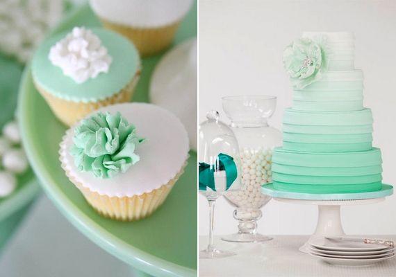 A sütemény is lehet dekoráció: akár mentazöld-fehér cupcake, akár ombre torta formájában.