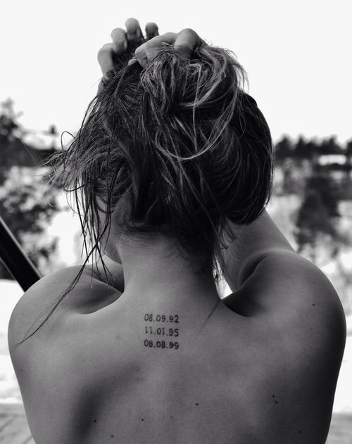 Tattoo with children's birth dates