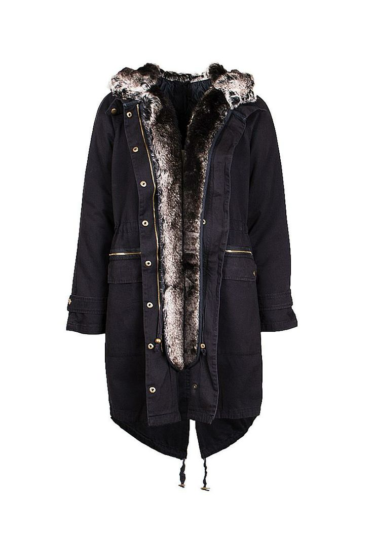 Womens Parka Coats Jacket Fur Hooded Warm Quilted Oversized 2-in-1 Winter coat
