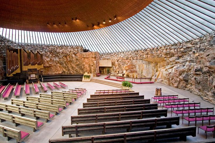 The Temppeliaukio Kirkko (Rock Church) is a thrilling work of modern architecture in Helsinki . Completed in 1952, it is built entirely underground and has a ceiling made of copper wire. It was designed by architect brothers Timo and Tuomo Suomalainen and completed in 1969.