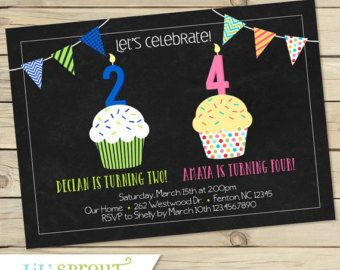 Joint Combined Birthday Party Invitation by lilsproutgreetings