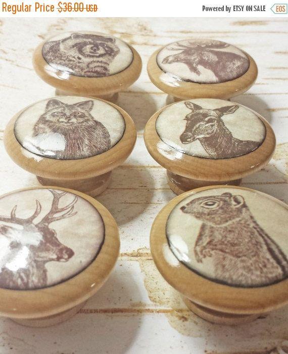 ON SALE Handmade 1.5 Wildlife Animal Knobs by SRVintageandDesigns