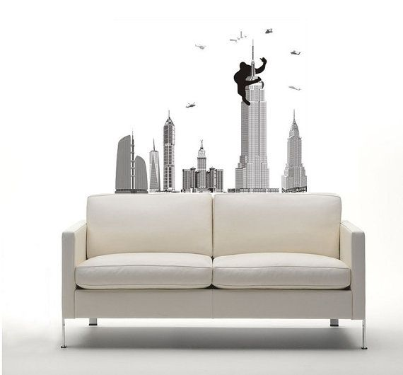 New York King Kong City Buildings Wall Sticker by TopWallDesigns