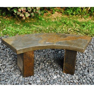 Curved Slate Bench, Japanese Garden Curved Slate Bench | Japanese Style, Inc.
