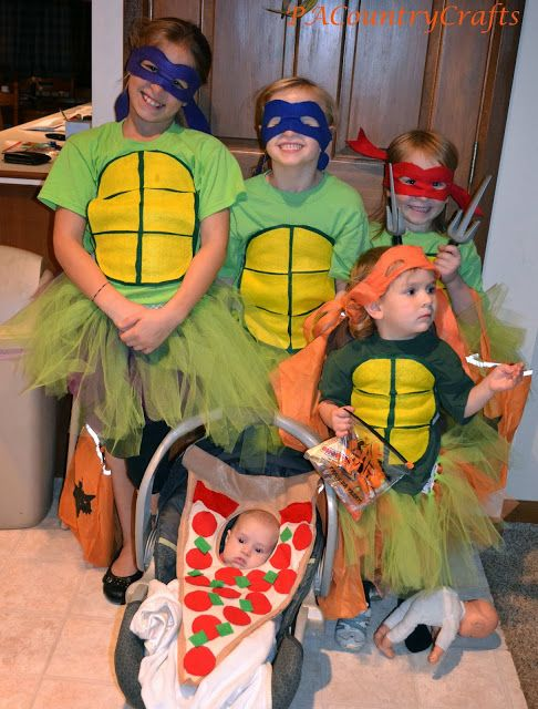 PACountryCrafts: DIY Girls' Ninja Turtle Costumes- with TUTUS..b/c without the tutus they're for boys, uhg
