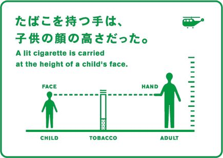 たばこを持つ手は、子供の顔の高さだった。