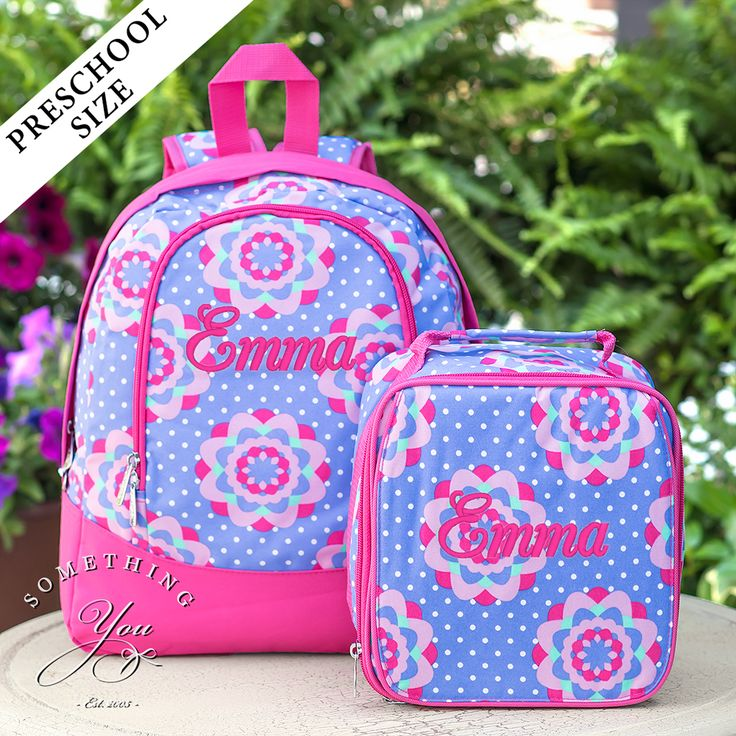 Something You - Zoey Gift Set of 2 - Monogrammed PRESCHOOL Backpack and Lunchbox, $53.90 (http://www.somethingyou.com/new/zoey-gift-set-of-2-monogrammed-preschool-backpack-and-lunchbox/)