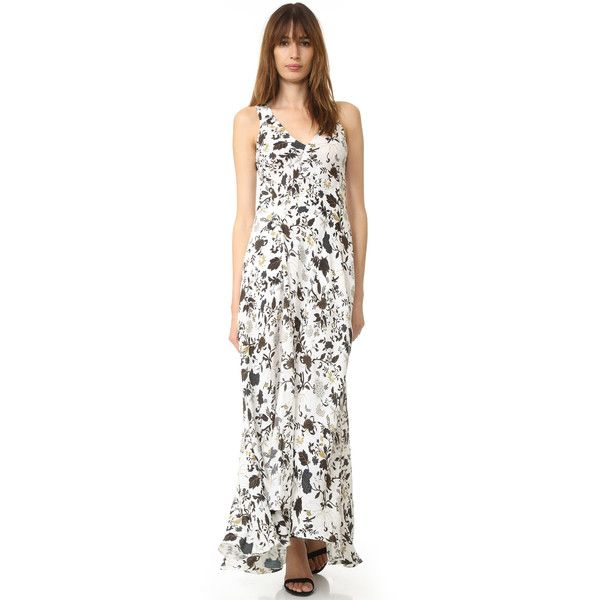 A.L.C. Harlan Dress (22,010 INR) ❤ liked on Polyvore featuring dresses, white v neck dress, surplice maxi dress, white dress, floral dresses and v neck dress
