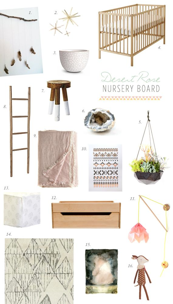 Desert Rose nursery idea board | 100 Layer Cakelet (I love the simplicity & different textures with multiple natural elements)