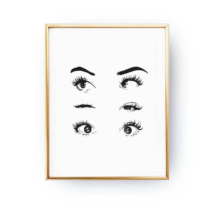 Eyes Wink Print, Makeup Art, Makeup Illustration, Illustration Poster, Fashion Poster, Wardrobe Art, – Beriana