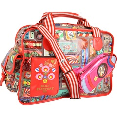 OILILY TICKETS DIAPER BAG - $145.99. Not for the faint of heart, this is definitely more of a bag for people who like bold, bright and artistic everything! I love the detailed little front pocket in the shape of a pink rocket, so cute!