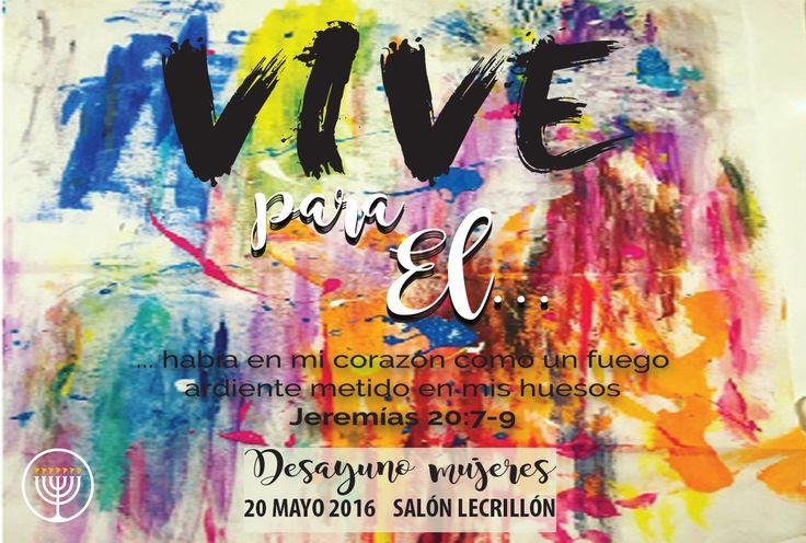 "VIVE PARA ÉL Por Maribel Jiménez 20 de Mayo, 9:30 a.m.  Avenida Cuauhtémoc 1438, Santa Cruz Atoyac, Deleg. Benito Juárez, C.P. 03310 (en el ""Palacio Le Crillón"").   Informes: +52 (55) 7098-5682 +52 (55) 7095-7348  sur@vnpem.org.mx"