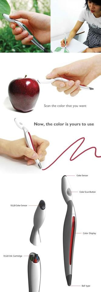 Concept pen that can scan colors from anything around and instantly use the color for drawing. The color is being detected by the color sensor and the RGB cartridge of the pen mixes the required inks to create the target color. This superb device will help people to observe the changing colors of nature. With color picker, all range of artists will be able to cerate a more sensorial and visual insight of their surrounding nature's colors.