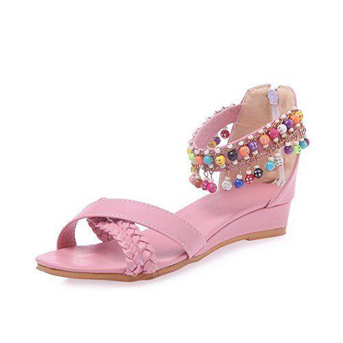 AmoonyFashion Women's Solid PU Low-heels Open Toe Zipper ...