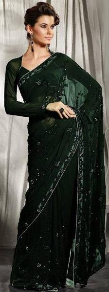 Unique Long Sleeve Deep Green Saree from Rair