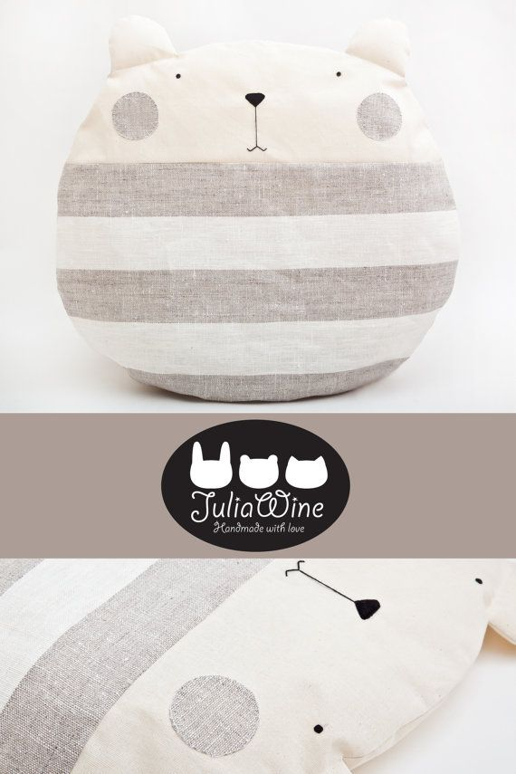 Hey, I found this really awesome Etsy listing at https://www.etsy.com/listing/224521055/striped-round-pillow-bear-pillows-gray