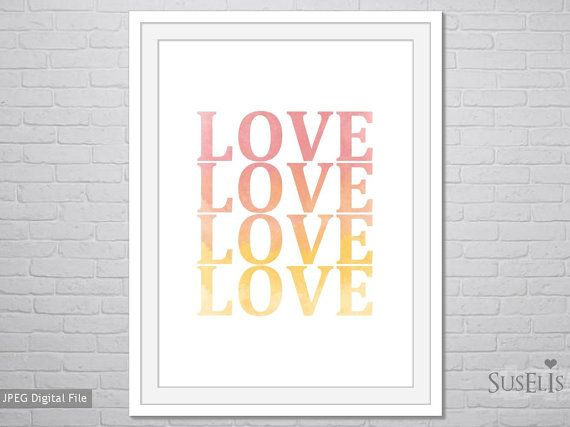 Love wall art Watercolor Print Pink Yellow print 8x10 by Suselis