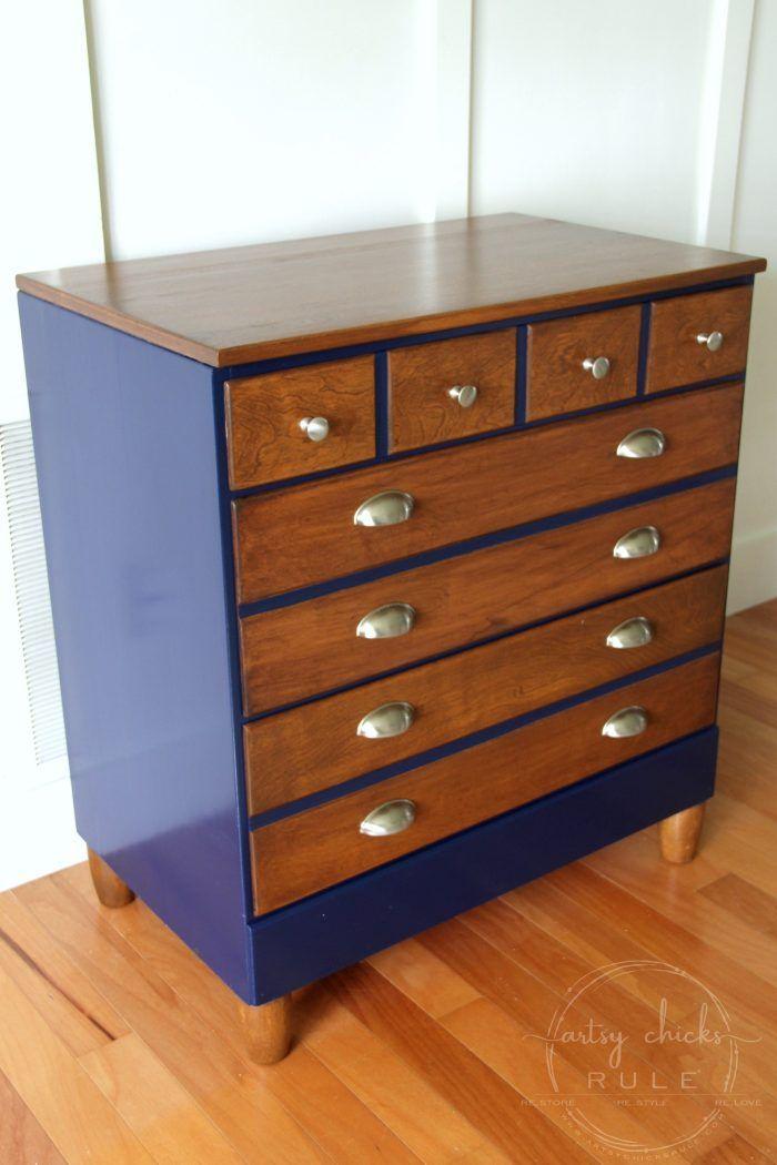 Coastal Blue Antique Walnut Gel Stain Dresser Makeover Artsysrule Antiquewalnutgelstain Generalfinishes Javagel Coastalblue Dressermakeover
