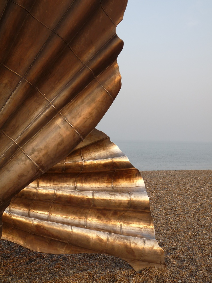 Maggie Hambling's shell, in honour of Benjamin Britten, Aldeburgh beach, Mary Vincent