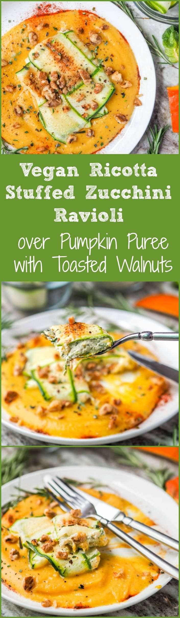 Your favorite fall pumpkin rosemary flavors topped with a vegan ricotta stuffed zucchini ravioli and sprinkled with toasted walnuts. Dinner doesn't get better than this. Low Carb, Paleo + Gluten Free too. Perfect healthy low carb pasta option. | avocadopesto.com