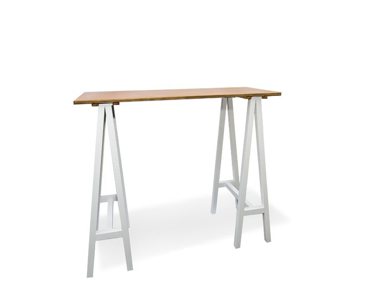 Carpenter Bar Table (white legs, sand top) - South Coast Party Hire