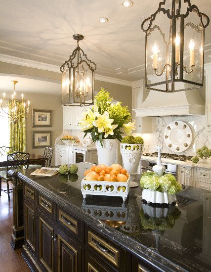 very nice kitchen.....love the lanterns: Hanging Lights, Dreams Kitchens, Kitchens Design, Lights Fixtures, Black Cabinets, Islands Lights, Kitchens Islands, Lanterns, White Cabinets